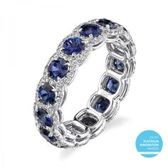 Omi Prive's Award Winning Sapphire and Diamond Eternity Band is sure to be a heart-stopper this V-Day. Check out the 3.24 cts. of beautiful blue sapphires, accented by 208 round diamonds (0.67 cts. t.w.) and set in platinum. Heavenly, my dear. www.diamonds.pro