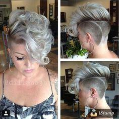 Faux hawk/ undercut with curls