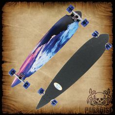 """PARADISE LONGBOARDS """"Blue Sunset"""" PALB-17. 7 ply's of Canadian maple, the deck measures 9.25"""" x 46"""" and is a classic Pintail shape. This is one of the easiest longboards to maintain stability and stay in control. The Bigfoot Paradise Cruiser wheels are 76mm with a 80a hardness that make the wheels perfect for smooth as silk riding without sacrificing speed. The board is complete with high-grade, 6"""" raw trucks, Abec-7 Speed Bearings, Hardware, & Risers."""
