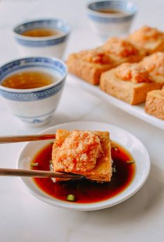 This stuffed tofu recipe is a Cantonese-style favorite made with a shrimp filling. The tofu is fried to crispy perfection, and it doesn't take long to make! @thewoksoflife1