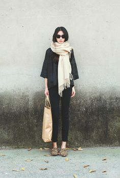 Black outfit with cream scarf