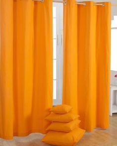 Gardinen mit Ösen unifarben orange 2er Set 100% Baumwolle, 182x137 cm