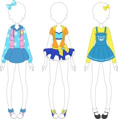 Pop Coords by VanillaChama Manga Clothes, Drawing Anime Clothes, Doll Clothes, Anime Outfits, Cool Outfits, Leila, Rainbow Outfit, Cute Art Styles, Anime Dress