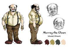 Murray the Clown blueprint man model sheet