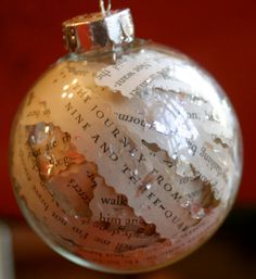 Harry Potter Recycled Book Page Glass Ornament, Literary Gift