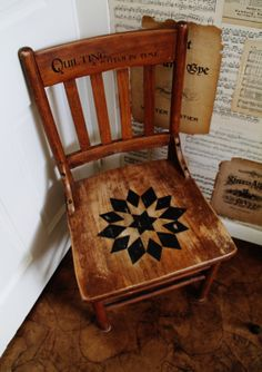 Quilt Inspired Antique Wooden Chair ~~available from KnickofTime.net