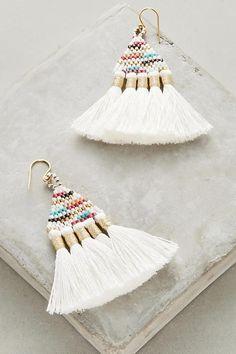NEW Anthropologie White Tali Tassel Earrings by Bluma Project NWT $78 #AnthropologieBlumaProject #DropDangle