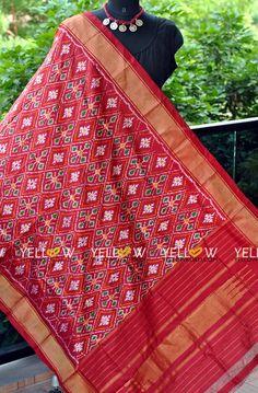 Pure Silk maroon Ikat Dupatta