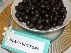 Frozen Birthday Party. Picture 9 of 15. Frozen Menu. Olaf's Buttons.