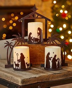 Nativity Candle Holders with LED Candles. Decorate for Christmas with this Set of 3 Nativity Candle Holders with LED Candles. Beautiful alternative to regular candles. Christmas Candles, Christmas Crafts, Christmas Decorations, Christmas Ornaments, Holiday Decor, Christmas Holiday, Christmas Program, Felt Ornaments, Christmas Printables