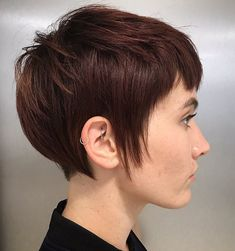 Long Chocolate Brown Pixie With Sideburns