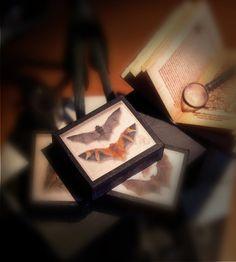 Paper Miniature - 2 BATS  SHADOW BOX  - taxidermy - victorian steampunk gothic - Scale 1:12 de EasyPrintAndCut en Etsy