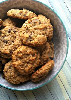 Chewy Oatmeal Chocolate Chip Cookies; chewy oatmeal cookies with sweet chocolate chips