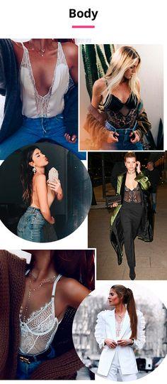 Body: os modelos rendados são tiro e queda e super bem-vindos para produções da noite. Com jaquetas e jeans, o body fica mais cool e despojado, sem deixar de segurar o lado sexy do look.