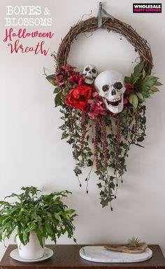 DIY Bones and Blossoms Halloween Wreath DIY Halloween Halloween Bones and Blossoms Wreath Diy Halloween Dekoration, Halloween Home Decor, Holidays Halloween, Halloween Crafts, Halloween Party, Diy Halloween Wreaths, Halloween 2019, Creepy Home Decor, Outside Halloween Decorations