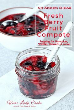 Fresh Berry Fruit Compote With No Added Sugar an easy recipe for topping pancakes, waffles, or other desserts. Click thru for easy recipe.