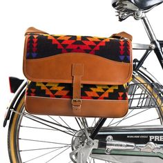 Cross Pannier Bicycle Bag by TRVR - Made of 100% pure virgin wool and 100% genuine Italian vegetable-dyed leather | MONOQI