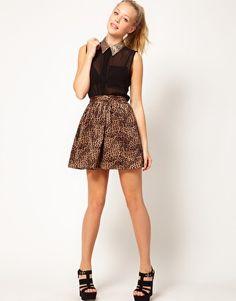 Glamorous Sequin Collar Sleeveless Shirt