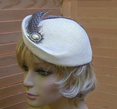 Millie, Kentucky Derby hat, fascinator veiling and feathers, millinery hat, bridal