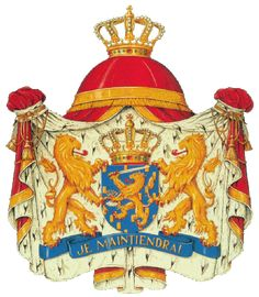 "The Coat of Arms of the Kingdom of the Netherlands. The banner, on which the two lions holding the shield appear to stand reads, ""Je maintiendrai"" which is the Dutch motto; it is French for ""I will maintain."""