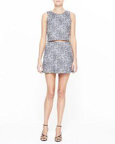 Mintelle Sleeveless Crop Top & Tabby Printed Sateen Skirt by Joie