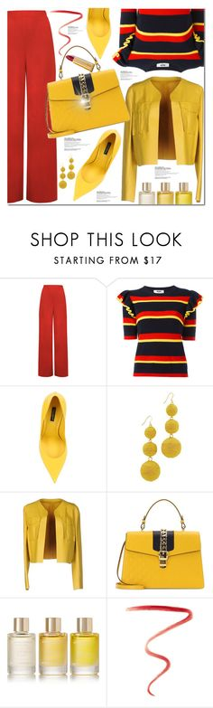 """Red pants yellow shoes"" by poopsie-plopsie ❤ liked on Polyvore featuring WearAll, MSGM, Dolce&Gabbana, Kenneth Jay Lane, Sportmax, Gucci, Aromatherapy Associates and Burberry"