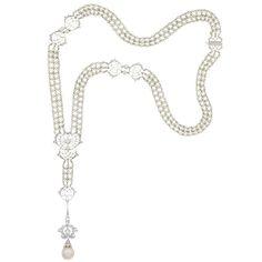 Edwardian Platinum, seed pearl and diamond sautoir with pearl  diamond pendant. Important Jewelry - Sale 14JL02 - Lot 402 - Doyle New York