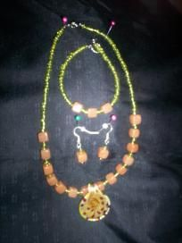 Handmade Necklace and Earring Set Free Shipping S10