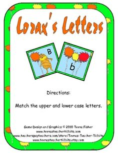 This will help Daniel stay fresh with his alphabet on upper and lowercase letters. Help the Lorax find the Truffala trees with this hands on alphabet matching center.Skill: Uppercase and Lowercase letter matchingPDF includ. Preschool Education, Kindergarten Literacy, Literacy Centers, Language Activities, Therapy Activities, Book Activities, Dr Seuss Day, Dr Suess, Teaching Calendar