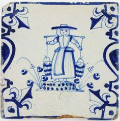 Antique Dutch Delft tile in blue with a woman carrying a yoke with two buckets of water, 17th century