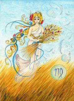 Virgo - Watercolor - Star Sign - Print from Original Paintings - Zodiac Series Zodiac Art, Virgo Zodiac, Zodiac Signs, Horoscope, Virgo Star, Signo Virgo, Virgo Girl, Greek Gods And Goddesses, Constellation Tattoos