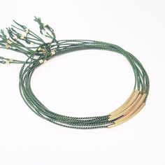 S I L K B R A C E L E T  9 2 5 S  Army green with gold, one of the combinations available from @nosytten #silkbracelets #army #925silver #gold #no17 #shop #hovedgaden #tisvildeleje no-17.dk #pønt #jewellery