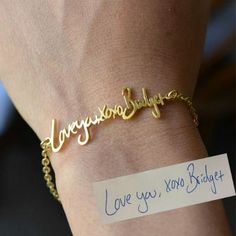 Actual Handwriting Bracelet 925 SSilver by bigEjewelry on Etsy Cute Gifts, Gifts For Mom, Great Gifts, Diy Gifts, Looks Style, My Style, Bracelets En Argent Sterling, Jewelry Accessories, Unique Jewelry