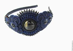 Купить ободок для волос Звёздная ночь - тёмно-синий, ободок для волос, ободок ручной работы