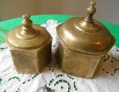 Antique 1800's Brass Boxes Set of 2 Artisan by SophieLadyDeParis