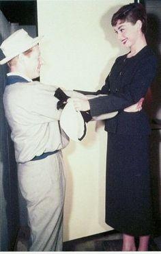 Audrey and Danny Kaye on the set of Sabrina