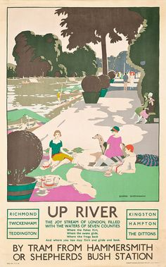 Vintage Painting - Up River by George Sheringham Susan Sontag, Billy Idol, Europe Continent, River Painting, Art Deco Print, Tourism Poster, Wanderlust, Railway Posters, Poster Vintage