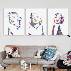 Watercolor portrait marilyn monroe pop vintage print art can Big Canvas, Canvas Art Prints, Wall Canvas, Nordic Living Room, Living Room Decor, Watercolor Portraits, Watercolor Art, Marilyn Monroe Pop Art, Canvas Pictures