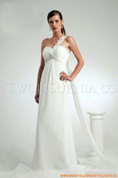 Reißverschluss Mollig Bodenlang Designer Elegante Brautkleider aus Chiffon