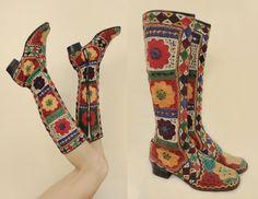 Vintage années 60 /70 Style Susani Rares bottes ethniques brodées psychedeliques