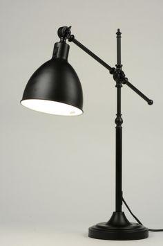 Stolní industriální lampa 30er Nero
