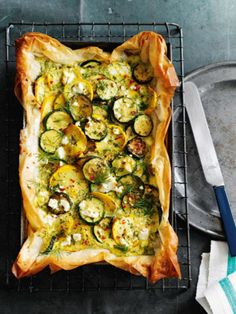 Tart Zucchini Tart in Phyllo Crust (photo by Gareth Morgans).Zucchini Tart in Phyllo Crust (photo by Gareth Morgans). I Love Food, Good Food, Yummy Food, Tasty, Tart Recipes, Cooking Recipes, Zucchini Tart, Recipe Zucchini, Vegetarian Recipes