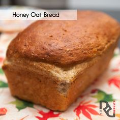Erin's Honey Oat bread  2 tablespoons old-fashioned rolled oats 1 cup old-fashioned rolled oats 1 1/3 cups whole-wheat flour 1 cup all-purpose flour 2 1/4 teaspoons baking powder 1/4 teaspoon baking soda 1 1/4 teaspoons salt 8 ounces nonfat or low-fat plain yogurt 1 large egg 1/4 cup canola oil 1/4 cup clover honey, or other mild honey 3/4 cup nonfat or low-fat milk  Full instructions on http://www.realresults-inc.com