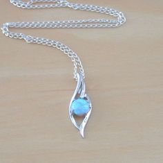 "925 Blue Opal Pendant & 18"" Silver Chain/Opal Necklace/Opal Jewellery/Gemstone"