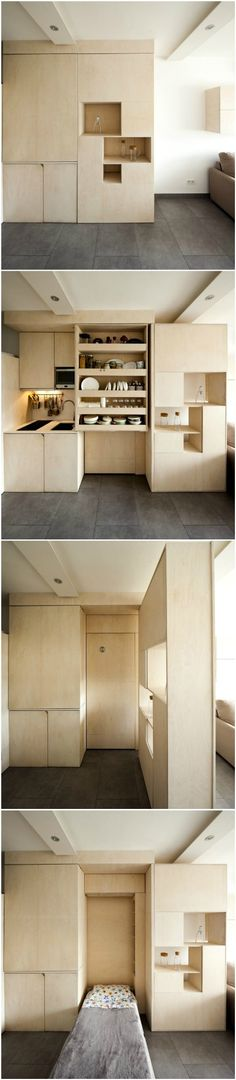 Transforming box makes is possible for family of three to live in 215 square feet apartment #wall bed #interior #small spaces