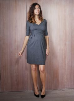 Serafina Maternity Dress in Grey | Isabella Oliver | Maternity Workwear