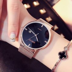 05c1901a07a  EBay  New Lady Fashion Watch Women Elegant Thin Rose Gold Bracelet Mesh  Band Wristwatch