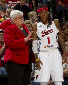 Coach Lin Dunn in a red blazer for the Red Out of Game 3 of the 2012 WNBA Finals.