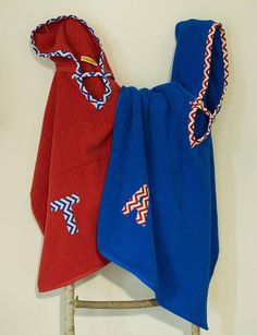 Hooded Towel Poncho Personalized in Royal Blue. Boy or Girl