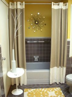 Pic On yellow gray bathroom Two Shower CurtainsDouble